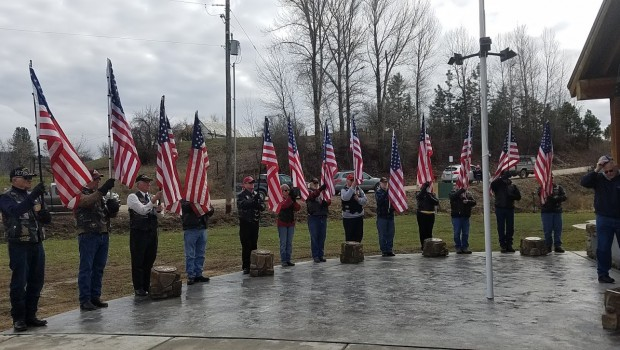 Patriot Guard Riders assembled at the Memorial.  Photo by Janet Juroch